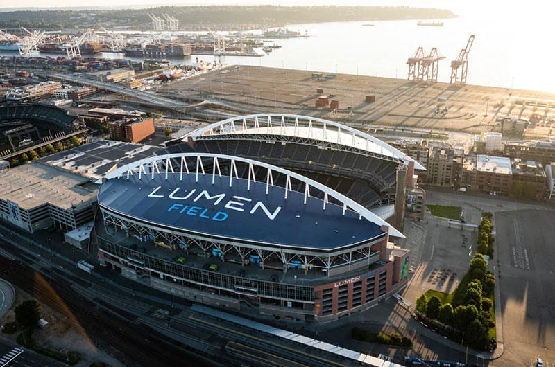Lumen Field lights up Seattle skyline